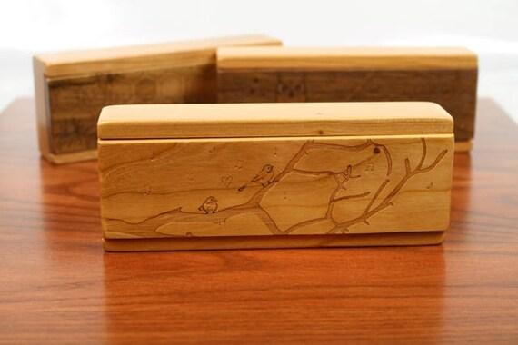 Chickadee Cherry Vitamin Box, V13b, Days of the Week, Wooden Pill Box, Medium Depth, Paul Szewc, Masterpiece Laser