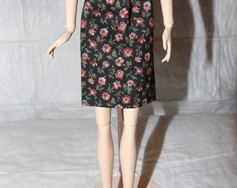 Fashion Doll Coordinates - Black skirt with pink flowers - es402