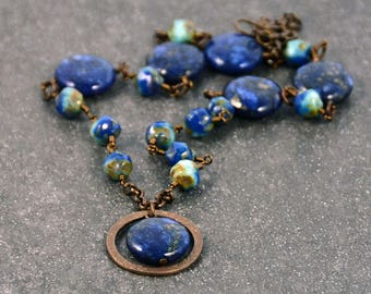 Tribal Gypsy Necklace Hippie Chic Necklace Blue Golden Quartz Light Blue Antique Brass Necklace
