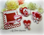 Valentine's  Handmade Paper Hearts and Paper Embellishments for Scrapbooking Layouts Cardmaking Mini Albums Tags Paper Crafts