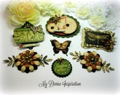 Graphic 45 Handmade Olde Curiosity Shoppe Scrapbook Embellishments Paper Embellishments for Scrapbook Layouts Cards Mini Albums Paper Crafts