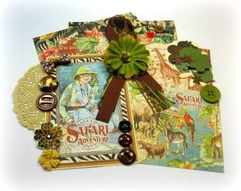 Graphic 45 Safari Adventure Inspiration Kit, Project Life Kit, Embellishment Kit for Scrapbooks Cards Mini Albums Tags and Paper crafts