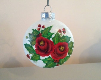 Red Roses with Berries and Holly Glass Christmas Ball  - Floral Xmas ornament - victorian ornament