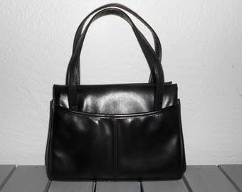 Vintage 1960s ELBIEF black leather satchel with kiss clasp and double-handles