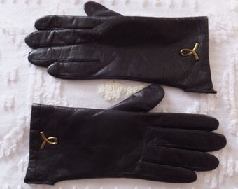 Pair Vintage 1960's Dark Brown Leather Gloves Size 7 NWT