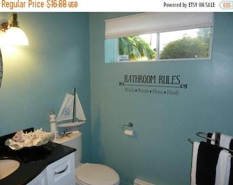 20% off Bathroom Rules- Vinyl Lettering wall words graphics  decals  Art Home decor itswritteninvinyl