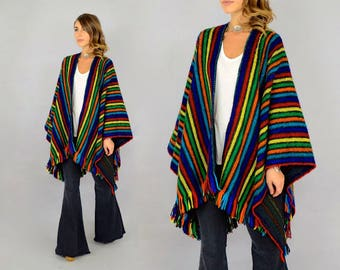 Rainbow Wool Blanket Poncho