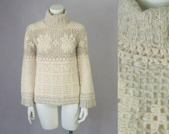 90s Vintage Handknit Crochet Turtleneck Wool Sweater (S)