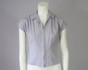 40s Vintage Bonwit Teller Dusty Lavender Button Down Short Sleeve Blouse (XS Petite)