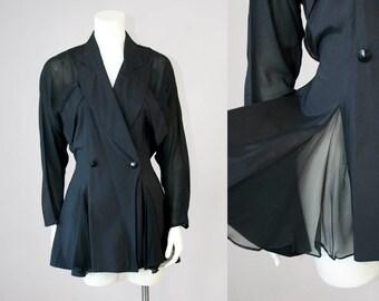 80s Vintage Deadstock Silk Chiffon Paneled Peplum Blazer (S, M)
