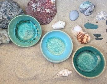 Nautical home decor - Handmade Ceramic Bowls set  of 3 - Nautical Decor - Handade bowls inspired by the Mediterranean sea