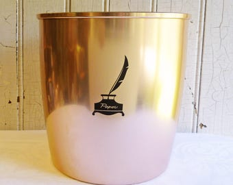 Vintage West Bend Copper Wastebasket - Atomic Home Office or Studio - Waste Paper Basket - Mid-Century 1960s - Copper Colored Aluminum