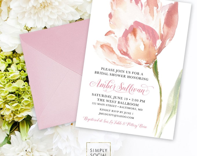 Pink Floral Bridal Shower Invitation - Personalized Custom Floral Flowers Blush Modern Calligraphy Baby Shower Printable Party Invite
