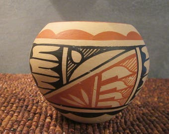 Hand Painted Native American Pottery - Unsigned Unglazed Clay Bowl with Acoma Pueblo Style Designs