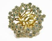 Unique Vintage Hydrangea Flower Brooch, Bonsai Tree Rhinestone Brooch, Vintage Jewelry, Blue Rhinestone, Tree Brooch, Cherry Blossom