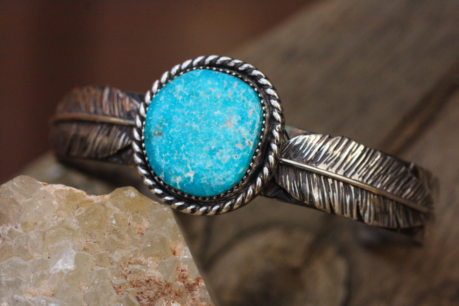 SALE Natural Turquoise Mountain Bracelet. Silver Feather