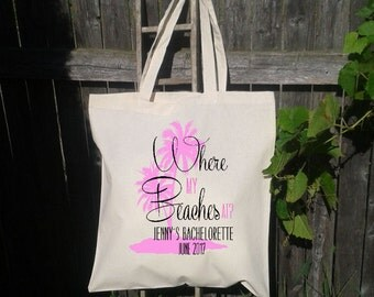 Where My Beaches At Palm Trees-Beach Bachelorette Party Tote - Wedding Welcome Tote