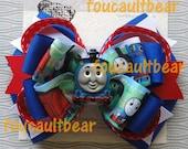 M2M Thomas Train Tank Engine Girls Hair Bow Barrette Ponytail Clip Custom Boutique