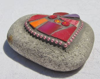 Red Heart Mosaic Stone, Good Luck Stone