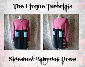 Digital Tutorial The Sideshow Dress Babydoll Tunic Dress Womens PDF Pattern Plus Size Lagenlook Shabby Chic TUTORIAL ONLY