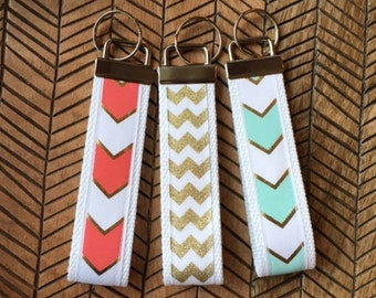 Key Fob Mini or Wristlet Keychain. Gold Mint Coral Chevron