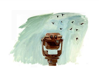 Vintage Viewfinder Print // Clouds, Seagulls , Scenic Viewer,  pay telescope, coin op binoculars, tower viewer, lens