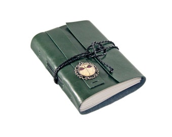 Forest Green Faux Leather Journal with Blank Paper and Dragonfly Cameo Bookmark - Ready to Ship -