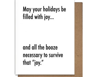 Joy Funny Letterpress Holiday Card Need More Booze Christmas Hannukah