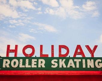 Holiday Roller Skating | Roller Skates | Retro Home Decor | Winter Home Decor | Retro Christmas Decor | Neon Sign | Neon Sign Art