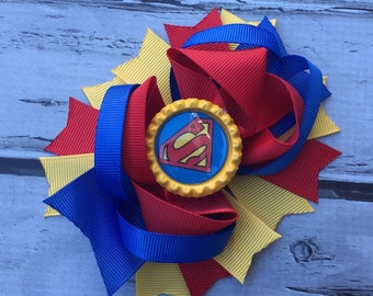 Boutique Baby Girls Layered Superman Hair Bow Superman Hair Clip Superman Birthday Super Hero Hair Bow Superman