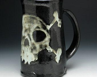 Gothic Skull Beer Stein, Skull & Crossbones Jumbo Mug