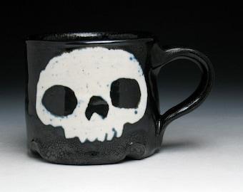 Skull Coffee Mug, Double Skulls Teacup in Black and White Glaze