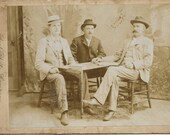 Antique Cabinet Photograph tThree men at a table
