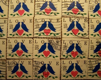 Valentine Love Stamps - Lot of 100 Love Birds and Heart Used Love Stamps as Pictured