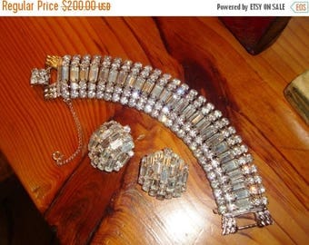"""WEISS BOOK PIECE: A Ribbon of Light - Highest Quality 1 1/8"""" Wide Austrian Crystal Domed Rhinestone, 5-Row Bracelet/Matching Earrings - Mint"""