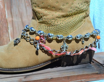 Boot Jewelry Chains Handmade Silver Tone Accessories Cowgirl Chic