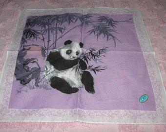 Panda Bamboo Violet Handkerchief Hankie original label Shanghai Very Lovely