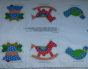 Vintage Fabric Panel Christmas Country Toy 6 Applique or 3 Ornaments