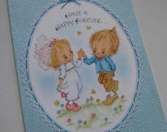 """Vintage Betsey Clark Wedding Card """"Hava a Happy Forever..."""" Glitter Accented"""