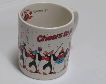 Vintage 80s Applause Jubilee ~ Cheers to You ~ Penguins ~ Bottoms Up! ~ Coffee Mug ~ Birtday ~ Retirement ~ Graduation