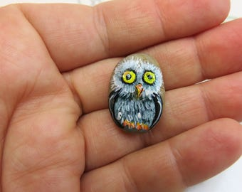 Mini owl pet rock Painted Rock animal painted stone Original art acrylic painting gift for owl lover