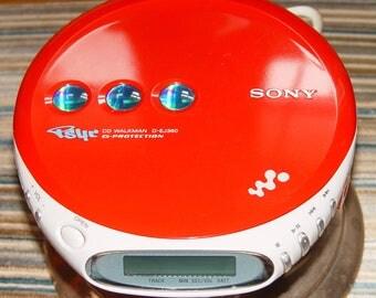 Vintage Sony Walkman CD Player D-EJ360 in Red Works Great