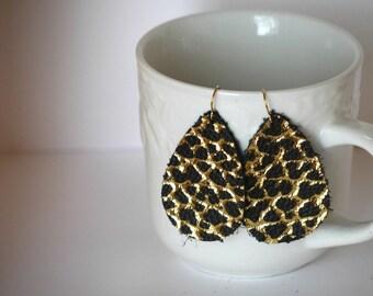 Black Gold Teardrop Leather Earrings