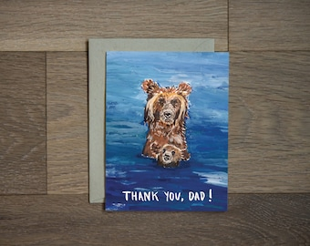 Fathers day card - bear card - new dad - funny card -humor - sweet - thank you