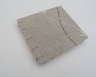 Natural notebook, journal, linen, recycled, Coptic, small