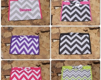 SPRING Chevron Hanging Makeup Cosmetic Bag Makeup Bag Pink Purple Grey Black Lime Monogram or Personalized Included*