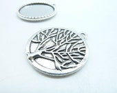 10pcs 25mm HG Antique Silver Round Tree Cameo Cabochon Base Setting Pendants Blank Tray Board C6251