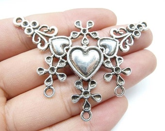 3pcs 46x64mm Antique Silver Huge Heart Flower Connector Charm Pendant c5544