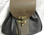 In Stock Large Sporran Design Leather Belt Bag / Pouch Medieval, Bushcraft, Costume, Ren Faire, Black and Brown