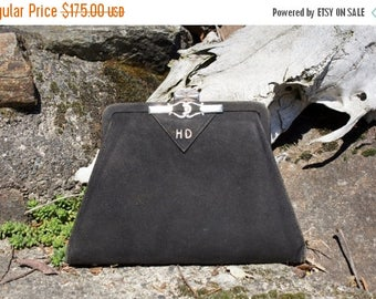Spring SALE Foster & Bailey Sterling Deco Clutch Purse Black 1920's Evening Bag